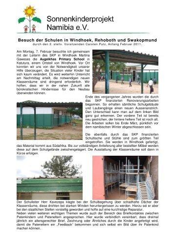 Besuch der Schulen in Windhoek, Rehoboth und Swakopmund