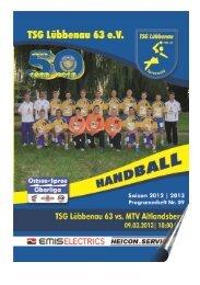 Vorchau aktuelles Spiel I - TSG Lübbenau Handball