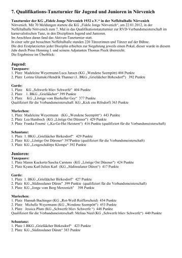 7. RVD - Tanzturnier 2012 - KG Fidele Jonge Nörvenich eV 1932