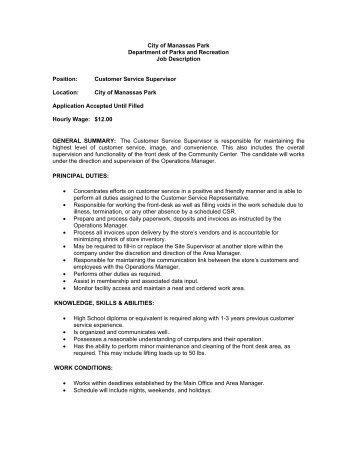Great Operations Supervisor Job Description Template Customer Service