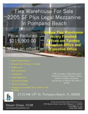 Flex Warehouse For Sale 2205 SF Plus Legal Mezzanine In Pompano Beach