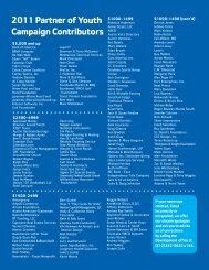 2011 Partner of Youth Campaign Contributors - YMCA of Austin