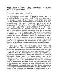 Appel pour le 3ième Camp anarchiste en suisse du 13 - camp.ch