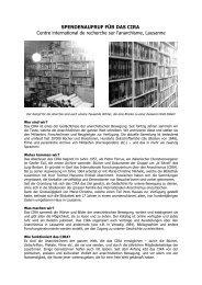 Spendenaufruf für das CIRA (Centre international de recherche s