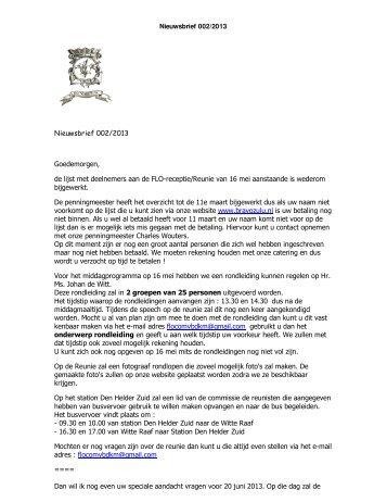 Nieuwsbrief 002/2013 Goedemorgen, de lijst met ... - Bravo Zulu