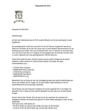 Nieuwsbrief 001/2013 Goedemorgen, de lijst met ... - Bravo Zulu