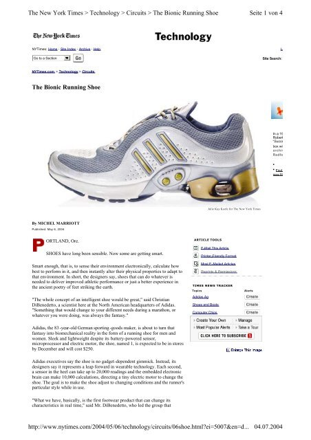 Fuera de helado inoxidable  The Bionic Running Shoe Seite 1 von 4 The New York Times ...