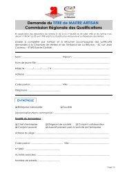 Demande du TITRE de MAITRE ARTISAN Commission Régionale ...
