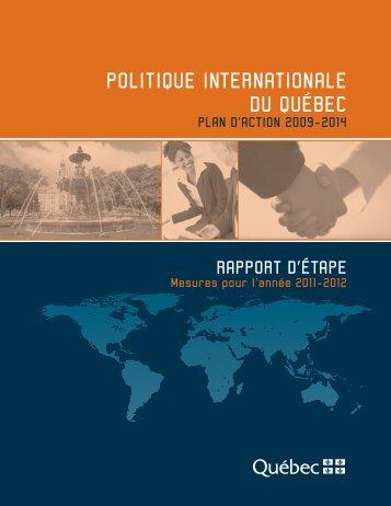 Rapport d'étape 2011-2012 - Ministère des Relations internationales