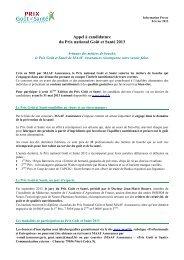 CP Prix Goût et Santé 2013 - Appel à Candidature - février 2013