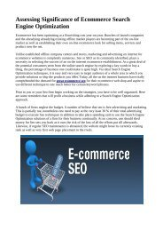 Assessing Significance of Ecommerce Search Engine Optimization