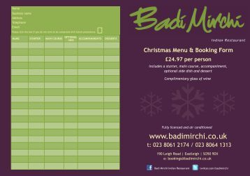 Christmas Menu & Booking Form - Badi Mirchi