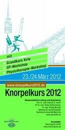 Knorpelkurs 2012 - Abteilung und Poliklinik für Sportorthopädie am ...