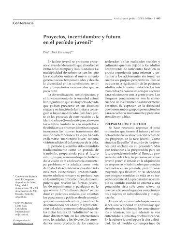 Proyectos, incertidumbre y futuro en el período juvenil - Sociedad ...