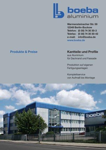 Preisliste 2002 - Boeba Montagen- und Aluminiumbau GmbH