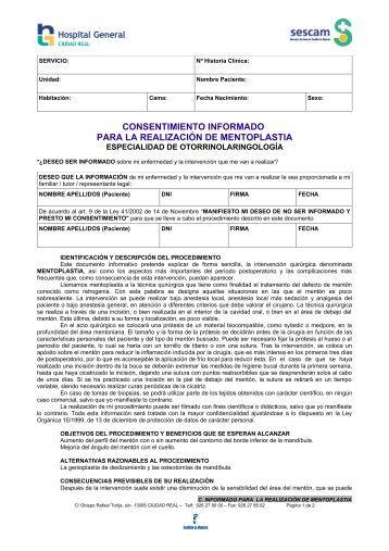 consentimiento informado para la realización de mentoplastia - hgucr