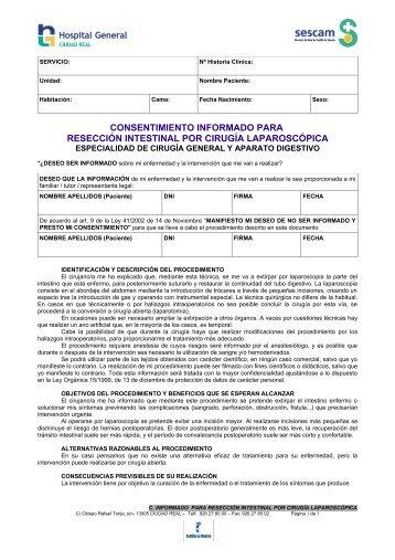 consentimiento informado para resección intestinal por ... - hgucr