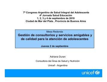 Gestión de consultorios y servicios amigables UNICEF ... - codajic