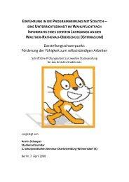 Einführung in die Programmierung mit Scratch - Didaktik der Informatik