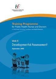 Unit 5 Developmental Assessment - Health Service Executive