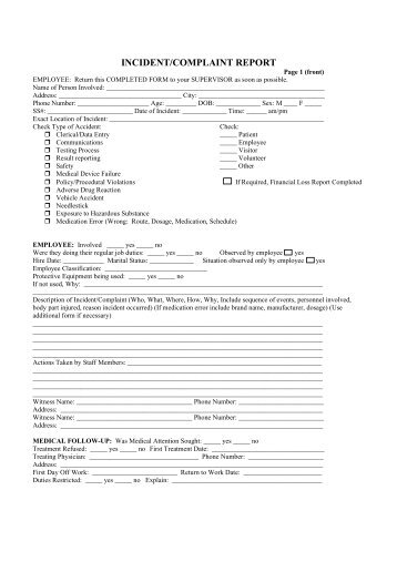 unusual incident report form all counties