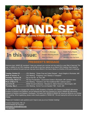 October 2012 Newsletter - Minnesota Academy of Nutrition and ...