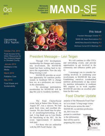 President Message— Levi Teigen Food Charter Update - Minnesota ...