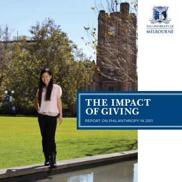 THE ImpacT of GIvInG - Melbourne University Magazine - University ...