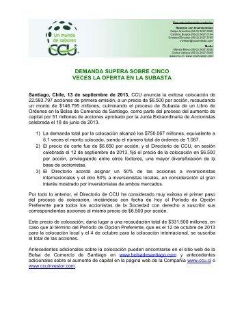 Demanda de Colocación - CCU Investor