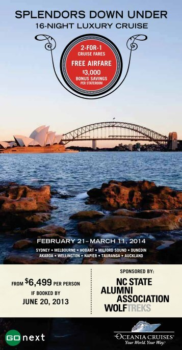 Splendors Down Under Brochure - NC State Alumni Association