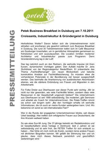 Pr petek petek business netzwerk migrantinnen for Business netzwerk