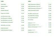 Heißes Tasse Kaffee € 2,20 Doppelter Kaffee € 3,80 Espresso € 2 ...