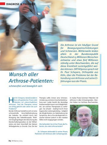 DIAGNOSE & THERAPIE Wunsch aller Arthrose-Patienten