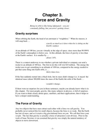 Chapter 3. Force and Gravity