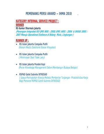 PEMENANG PERSI AWARD – IHMA 2010 .