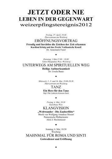 Pfingstereignis 12 Programmübersicht - Weizer Pfingstvision