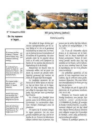 4-a trimestro 2012 : 80-jaraj leteroj - Centre Culturel Espéranto ...