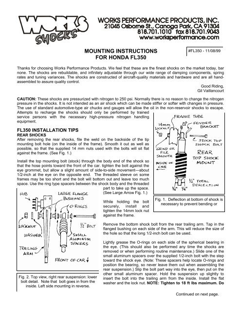 MOUNTING INSTRUCTIONS FOR HONDA FL350 - Works Shocks