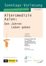 Altersmedizin Aalen: Den Jahren Leben geben - Ostalb-Klinikum