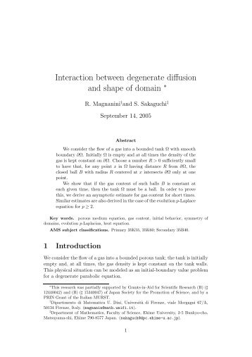Interaction between degenerate diffusion and shape of domain §