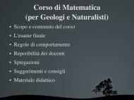 Presentazione del corso - Dipartimento di Matematica e Informatica ...