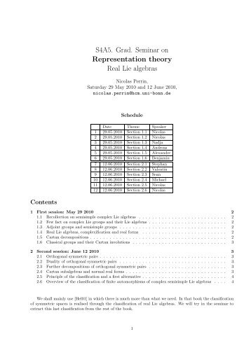 S4A5. Grad. Seminar on Representation theory Real Lie algebras