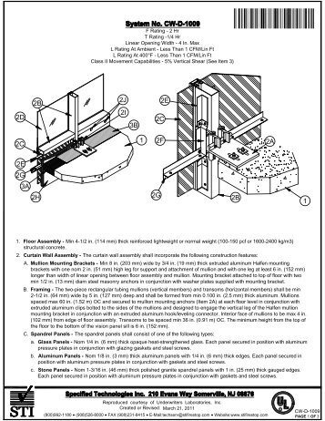 CW-D-1009 - STI - Specified Technologies Inc