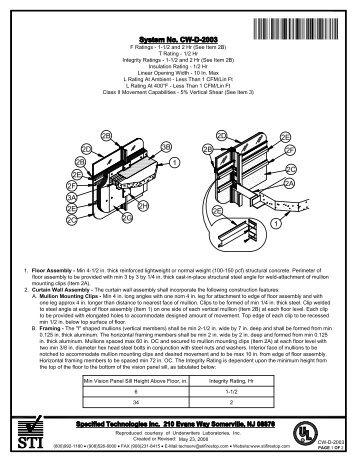CW-S-2003 - STI - Specified Technologies Inc