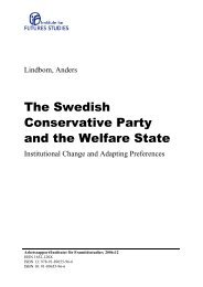 The Swedish Conservative Party and the Welfare State - Institutet för ...