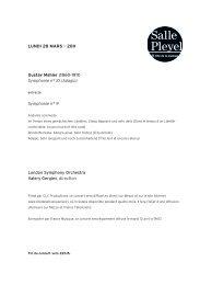 Le programme - Salle Pleyel