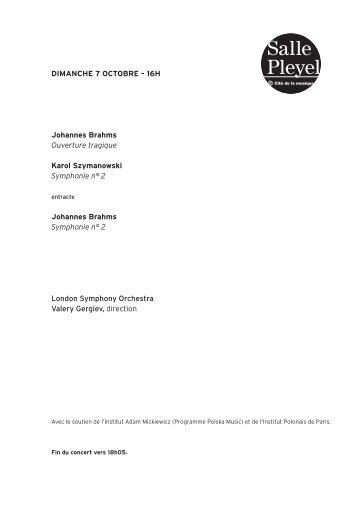 Note de programme du concert - Salle Pleyel