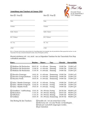 Anmeldeformular Erwachsene 01 2010 - Tanzschule First Step