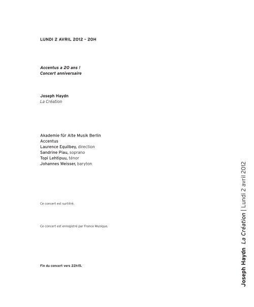 Jo s eph Ha y dn L a Création | L undi 2 a vril 2 012 - Salle Pleyel