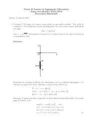 SOLUZIONI ESERCIZI N.1 e N.2 APPELLO 11 GENNAIO 2013